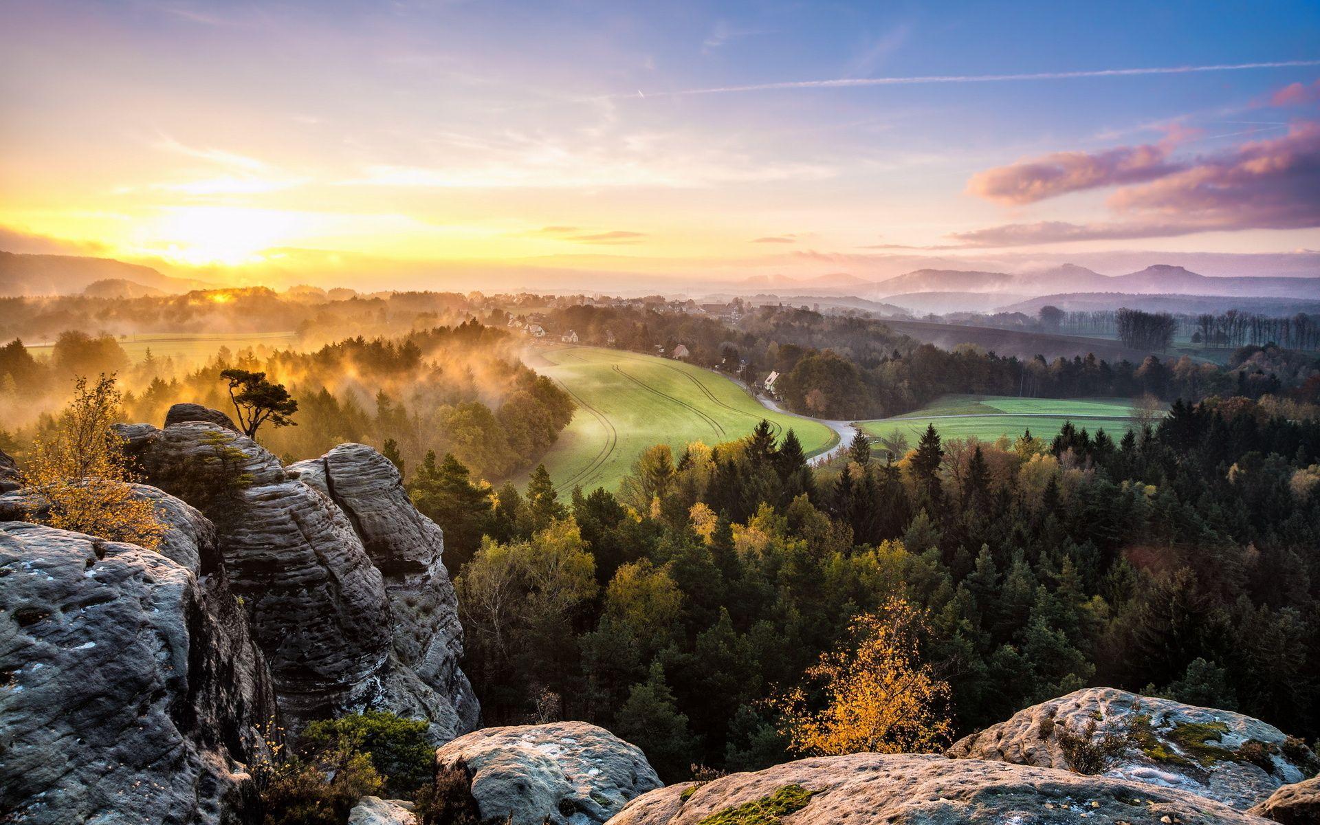 Morning Sunrise Morning mist mountain sunrise Wallpaper
