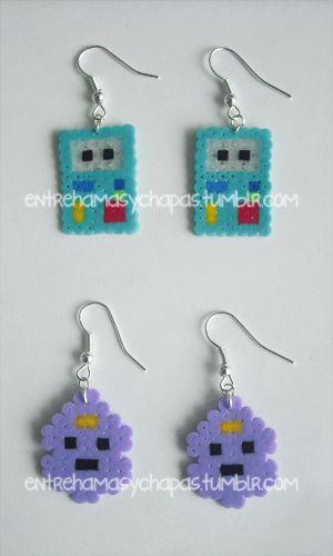 Adventure Time earrings hama beads by Entre hamas y chapas