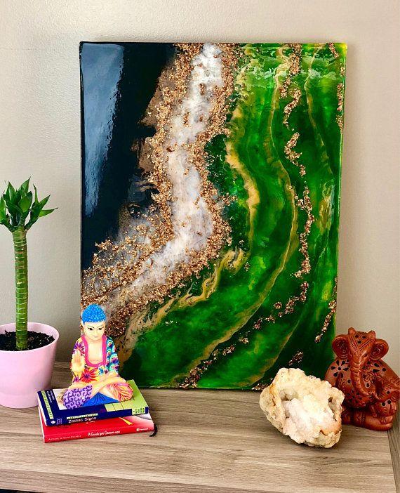 Peridot Agate Gemstone Resin Painting Resin Art Painting Art Painting Resin Painting