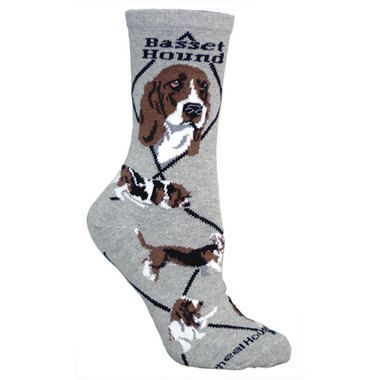 Basset Hound Socks / Gray