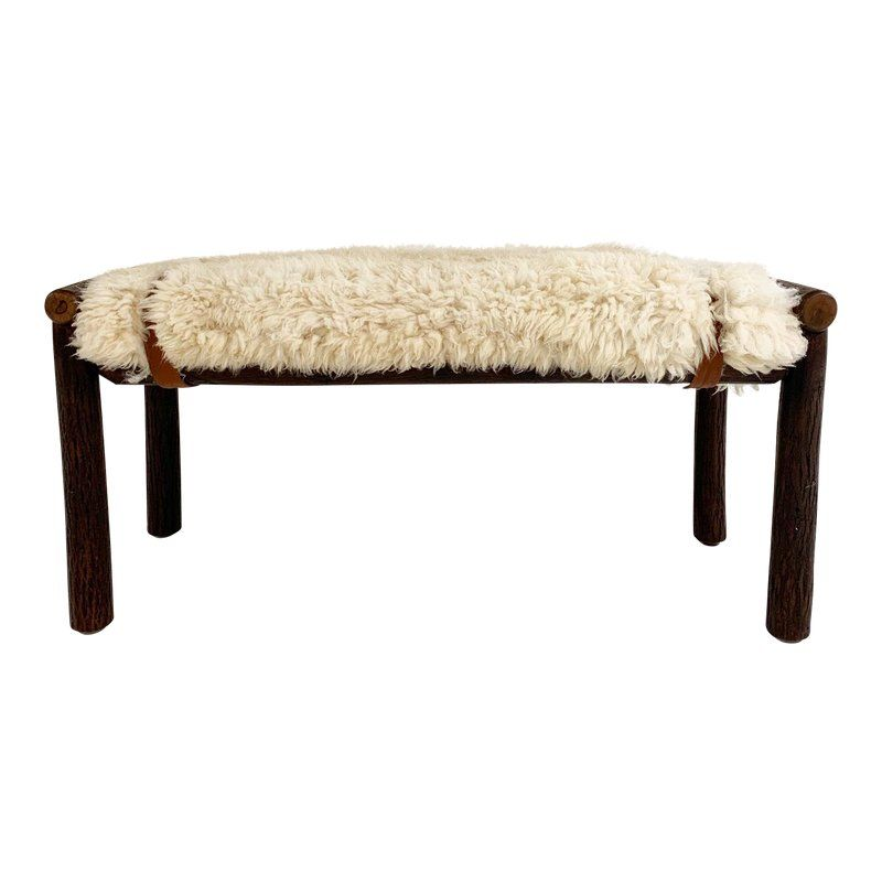 Forsyth X Old Hickory Butte Bench With Custom California Sheepskin Cushion And Loro Piana Buffalo Leather Old Hickory Old Hickory Furniture Hickory Furniture