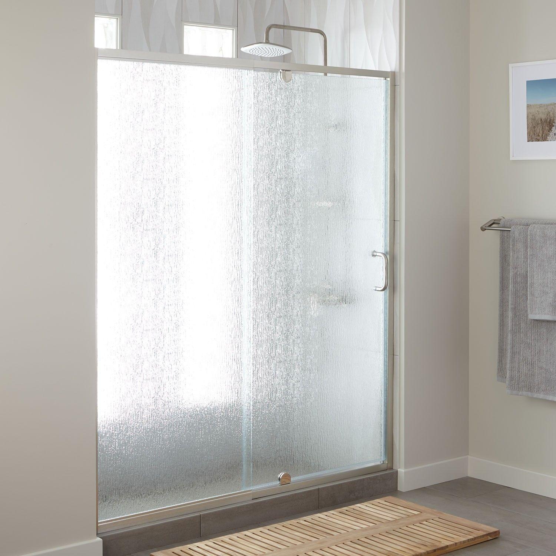 60 Osborne Adjustable Pivot Shower Door With Rain Glass Rain