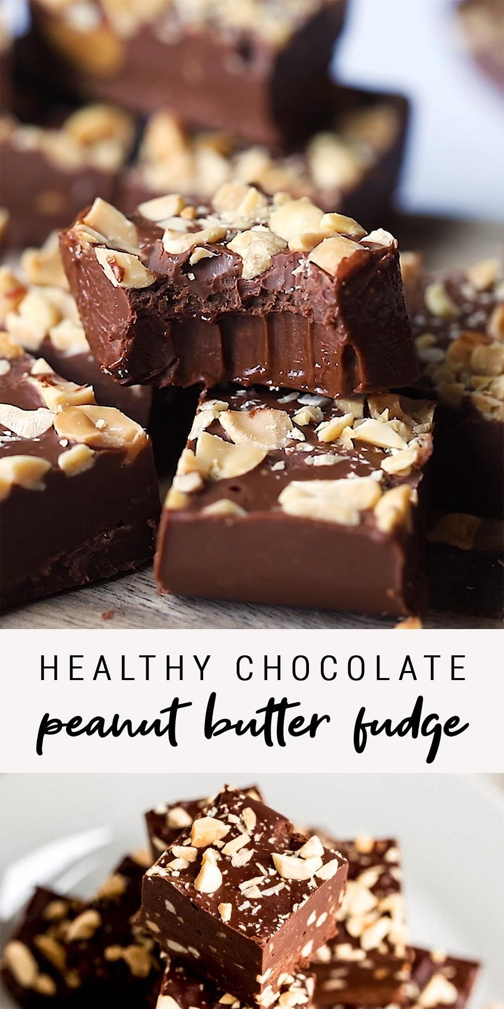 Photo of Healthy Low Sugar Chocolate Peanut Butter Fudge | Easy 3-Ingredient Fudge