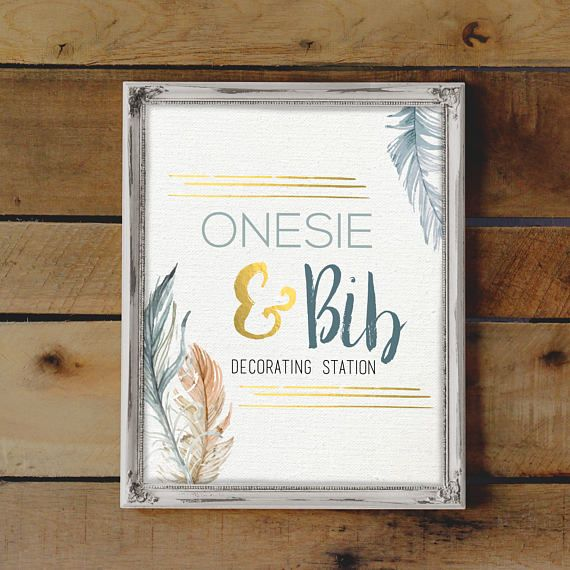 53d735e4385fd Onesie Decorating Station Sign, Baby Boy Shower Activity, Baby ...