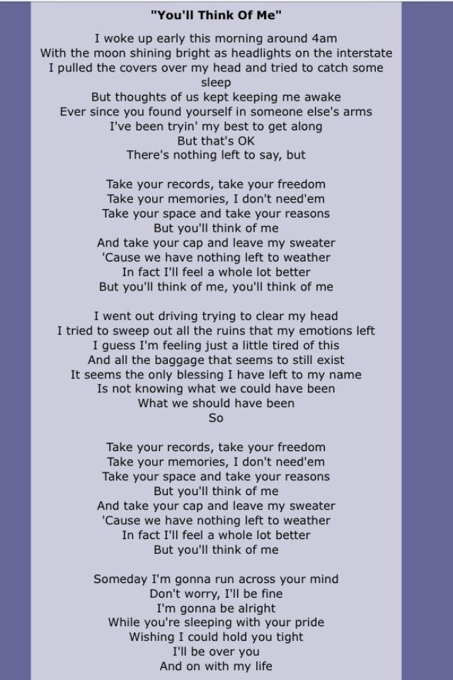 Keith Urban You Ll Think Of Me Lyrics Keith Urban Lyrics Me