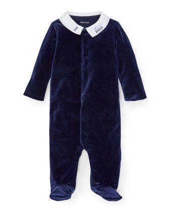 b10a3c242 Train+Embroidery+Velvet+Footie+Pajamas,+Size+3-9+Months++by+Ralph+Lauren+ Childrenswear+at+Bergdorf+Goodman.