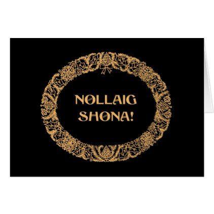 Irish Gaelic Christmas Wreath Gold-effect Black Card - christmas