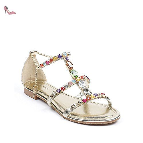 53552b6bdd280 Ideal Shoes - Sandales plates avec brides incrustées de strass Victoirine  Doree 41 - Chaussures ideal