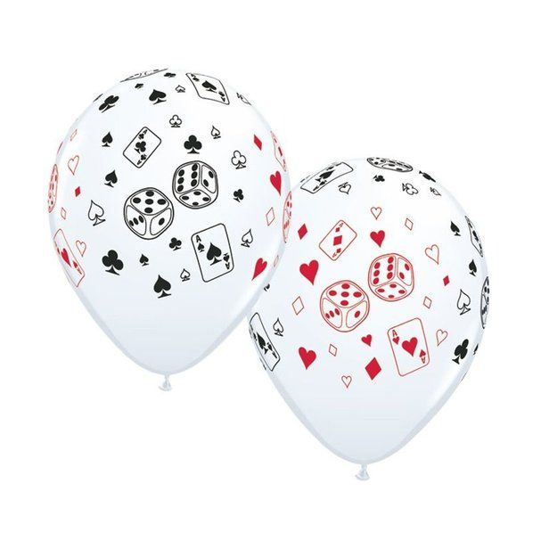 Check out Casino Cards & Dice 11 Latex Balloons (50 Pack) - Party Supplies…