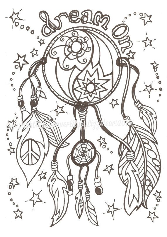 dream on dream catcher adult colouring page digital download - Dream Catcher Coloring Pages