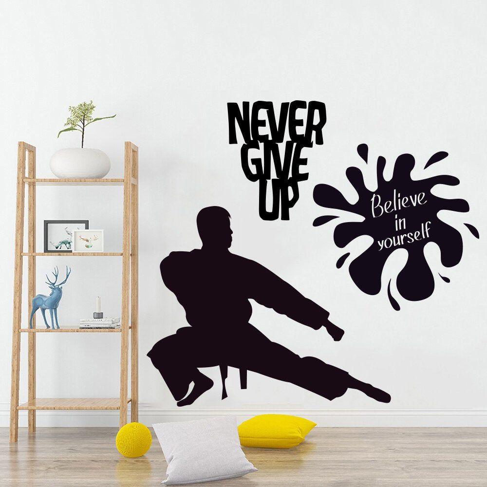 Karate Wall Decal Karate Stickers Wall Art Never Give Up Etsy Sticker Wall Art Wall Decals Wall Stickers [ 1000 x 1000 Pixel ]