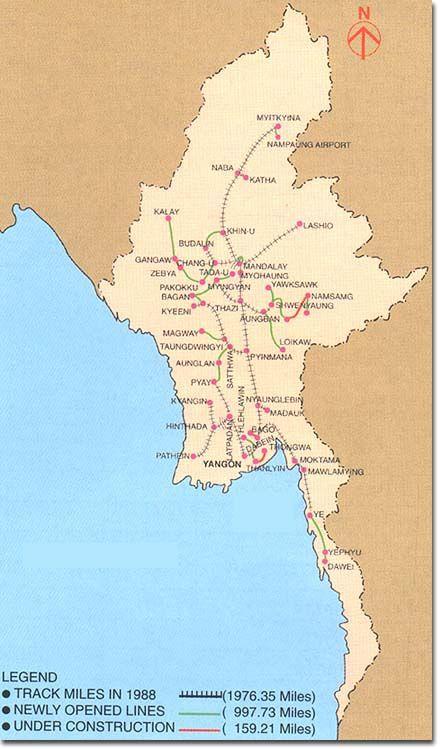 Railroad Map Myanmar Burma Map Myanmar Burma Myanmar