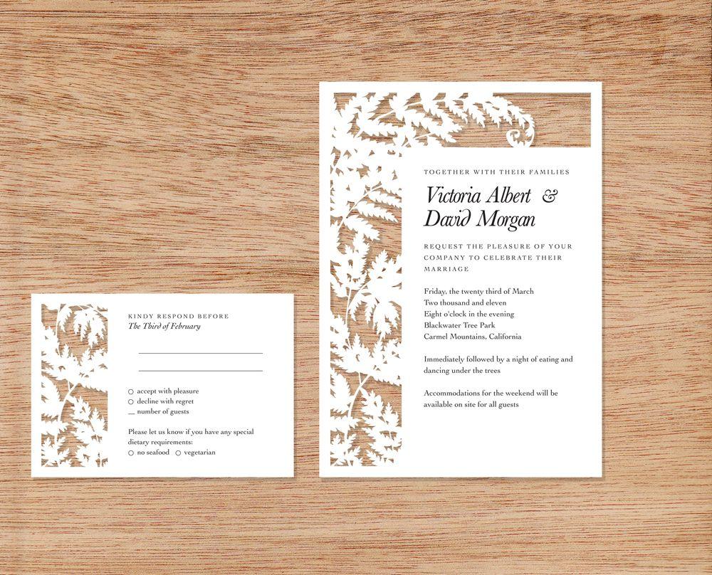 Fern papercut wedding invitation - Woodland Papercuts | Announcement ...