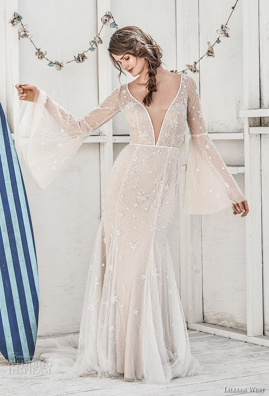 V neck white lace dress may 2019 Lillian West Spring  Wedding Dresses  Wedding   Pinterest