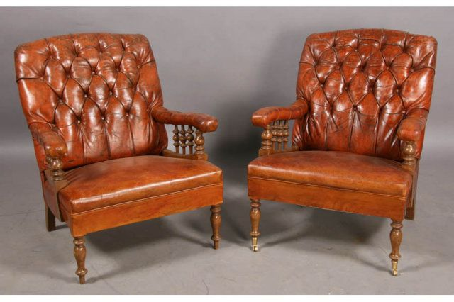 PAIR 2 ENGLISH EDWARDIAN LEATHER LIBRARY LOUNGE CHAIRS For Sale | Antiques.com  | Classifieds - PAIR 2 ENGLISH EDWARDIAN LEATHER LIBRARY LOUNGE CHAIRS For Sale