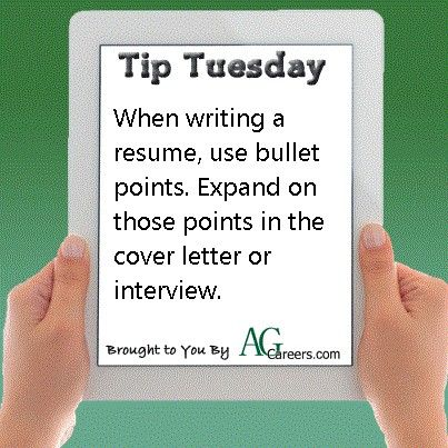 Use bullet points when writing a resume #TipTuesday | Resume Tips ...