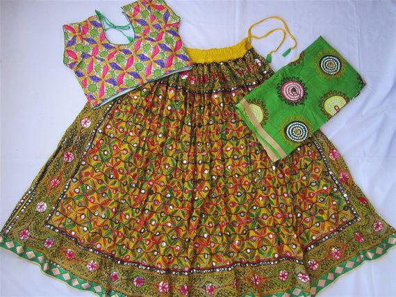 Navratri chaniya choli yellow colour with embroidery by mfussion