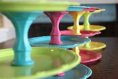 dollar tree plates and candlesticks + glue + spray paint = cheap cake/cupcake stands in a rainbow of colors