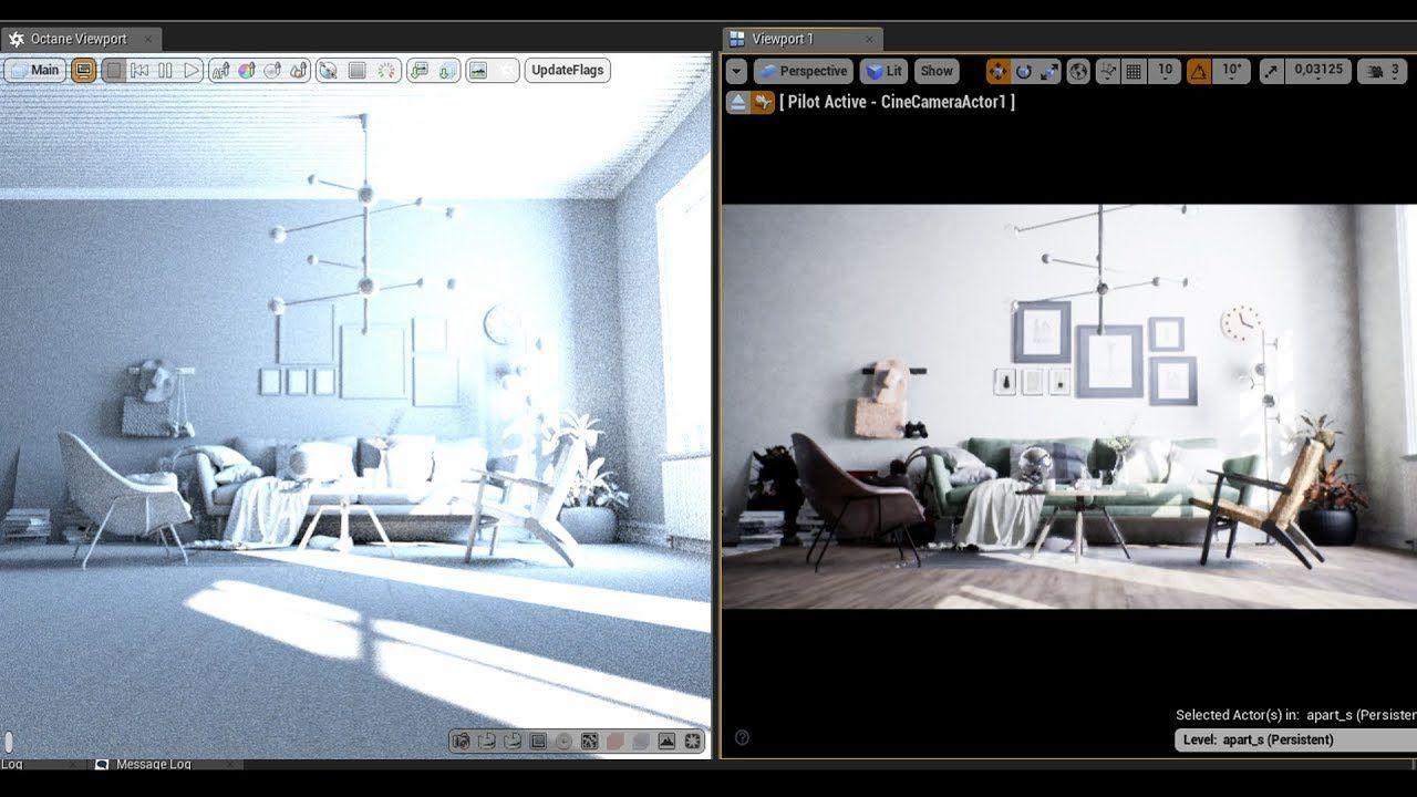 Ue4 22 3 Archviz Dxr Raytrace Vs Octane Render Comparison