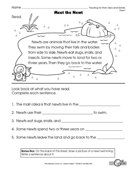 Reading Worksheet Main Idea And Details The Mailbox Main Idea Worksheet Kindergarten Worksheets Main Idea Kindergarten
