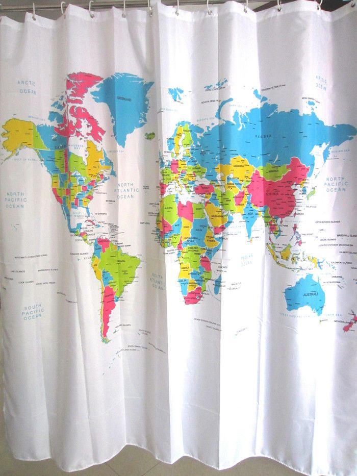 World Map Bathroom Shower Curtains