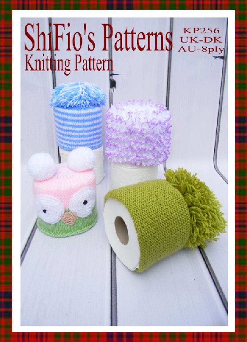knitting pattern, KP256, toilet roll covers, USA light worsted (3 ...