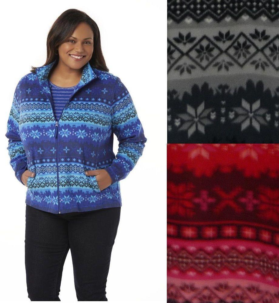 Laura Scott Womens Plus Fleece Jacket Zipper Fair Isle sizes 2X 3X ...