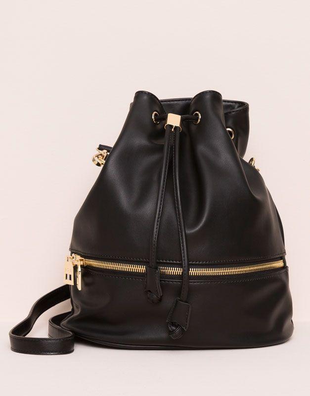 bombonera mujer I2015 amp;Bear y detalle mochilas Pull bolso negro cremallera saco tipo 09821336 bolsos 58qwwxtO