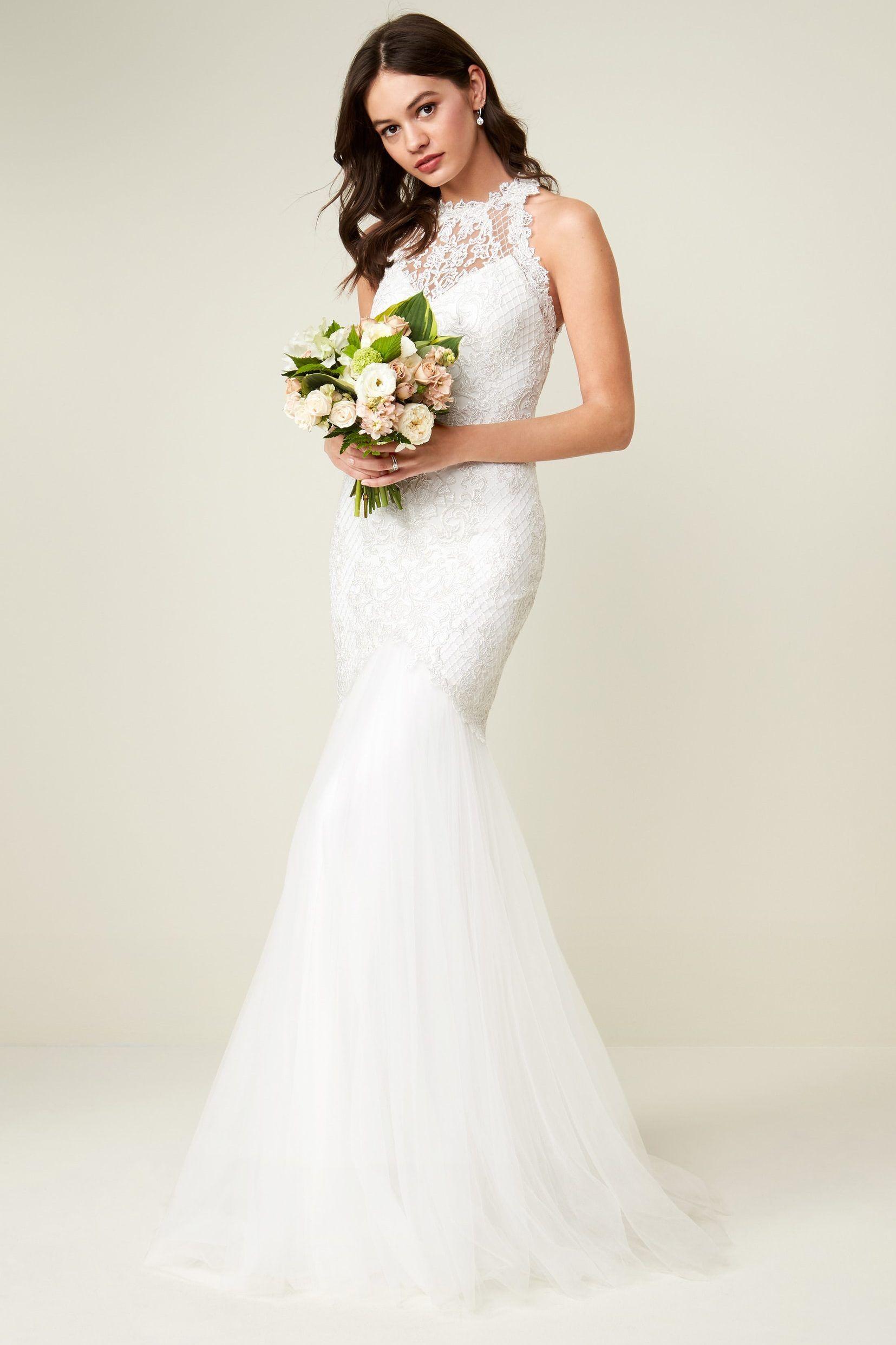 Lace Halter Neck Mermaid Silhouette Wedding Dress Chic Vintage Brides Tadashi Shoji Wedding Dress Ball Gowns Wedding Ivory Wedding Gown [ 2483 x 1655 Pixel ]