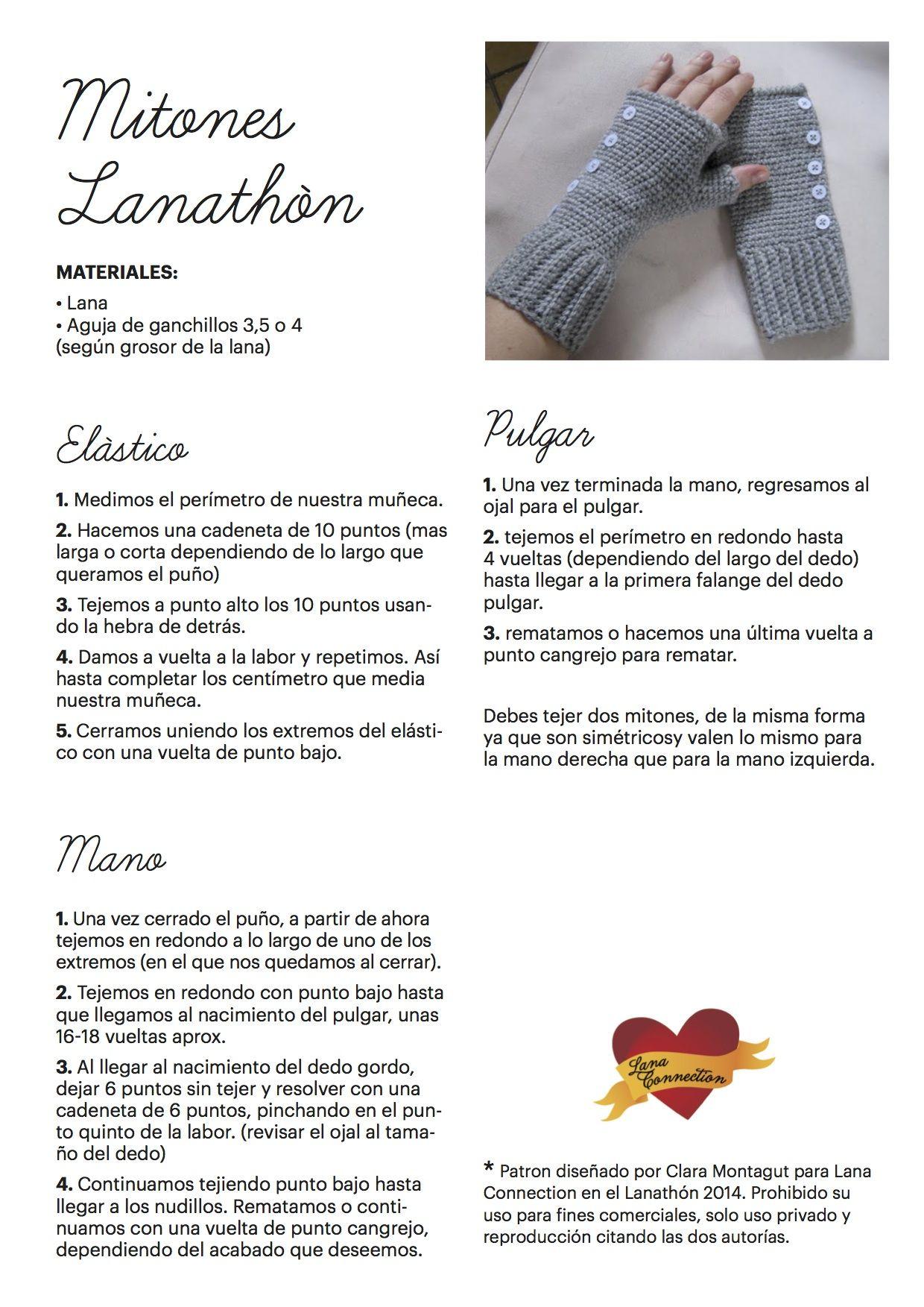 Lanathón 2014 (patrones) | Crochet | Pinterest | Mitones, Patrones y ...