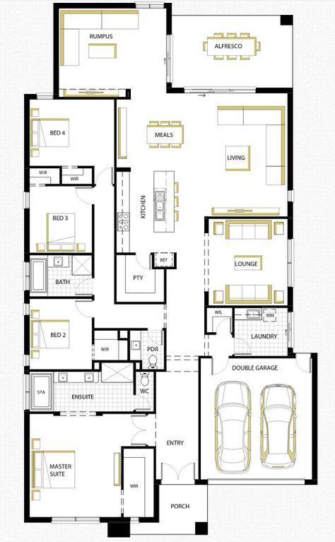 Diseño de casa de una planta con planos, fachada (con alternativa) y ...