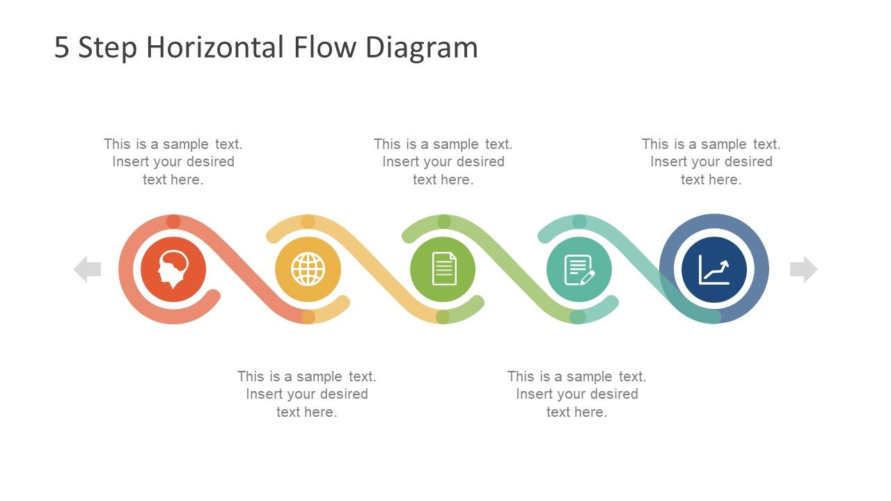 5 Step Horizontal Flow Diagram For Powerpoint Slidemodel Timeline Design Business Powerpoint Templates Powerpoint