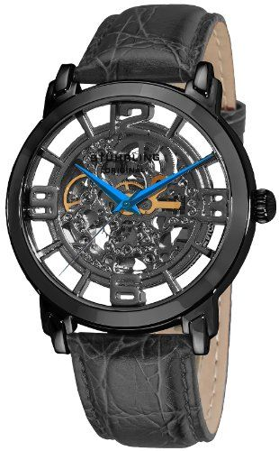 stuhrling original men s 165b 335569 classic winchester grand stuhrling original men s 165b 335569 classic winchester grand stainless steel and leather automatic winchesterskeleton watchesskeletonsmen