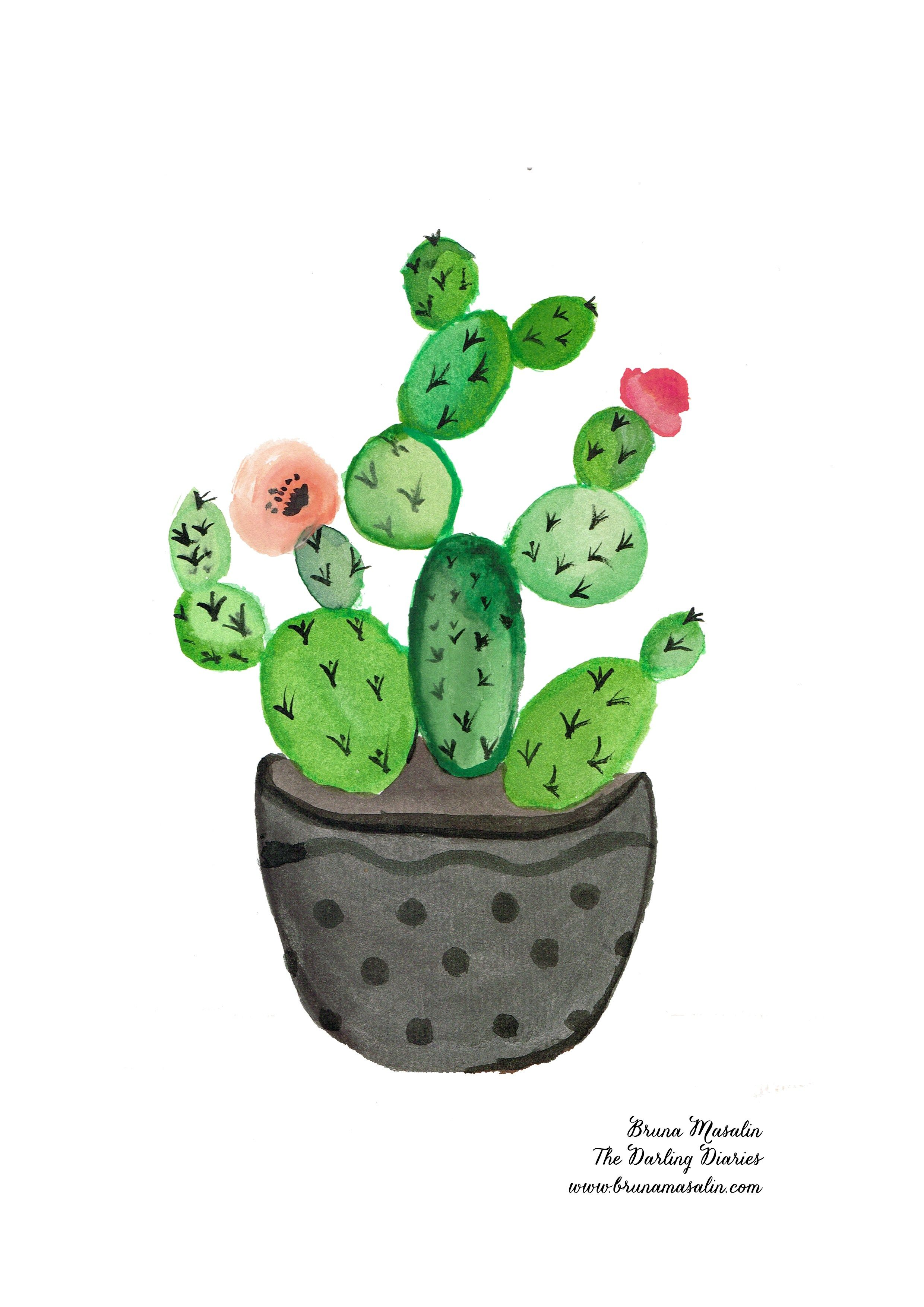 Free Watercolor Print Watercolor Cactus Cactus Stickers