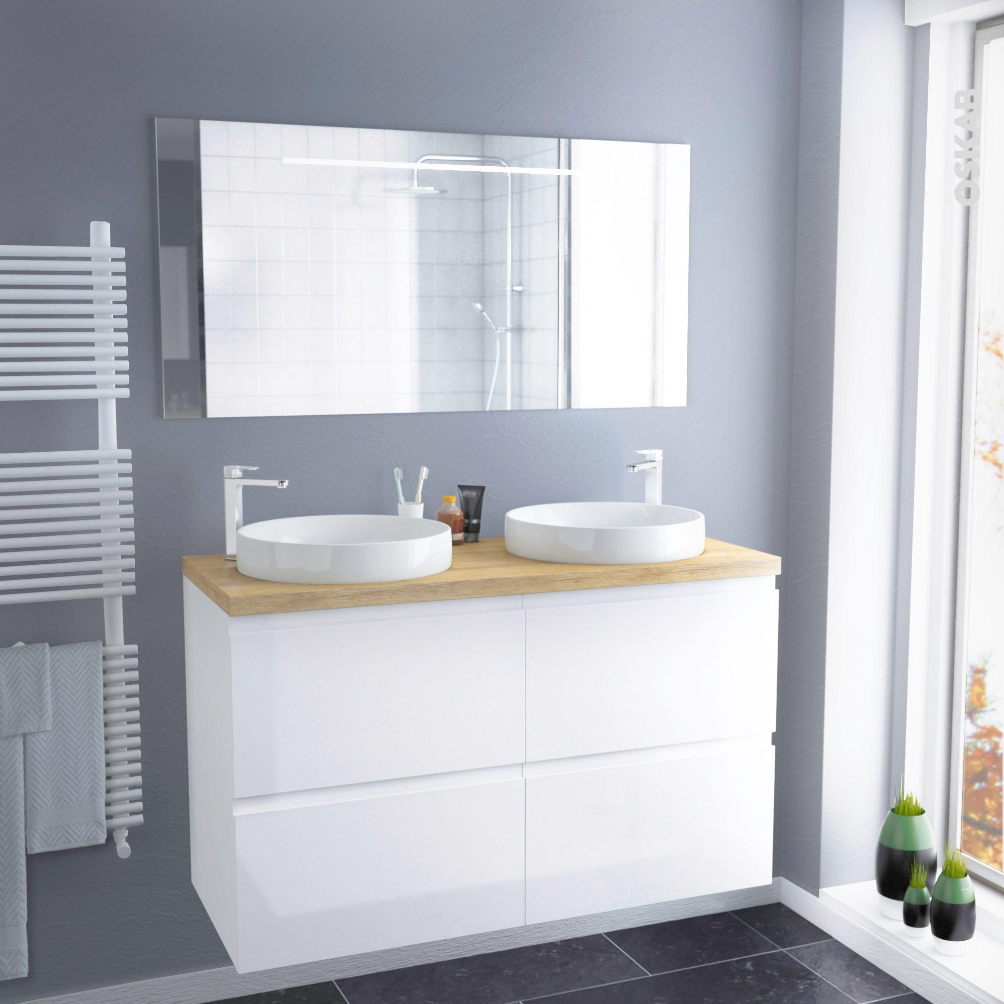 Ensemble salle de bains Meuble IPOMA Blanc brillant Plan de ...