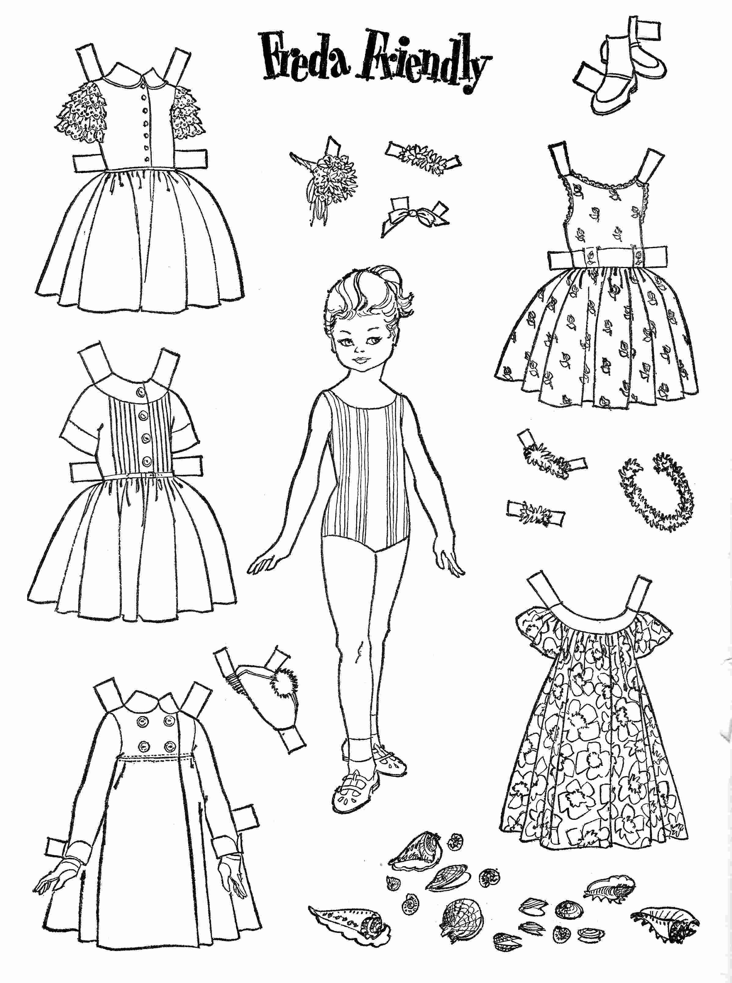 Coloring Pages Paper Doll Dress Up Coloring Pages