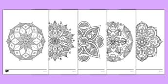 Mandala Themed Mindfulness Colouring Sheets Colouring Pd Fine Motor Skills Well Being Mindfulness Colouring Mindfulness Colouring Sheets Mandala Coloring