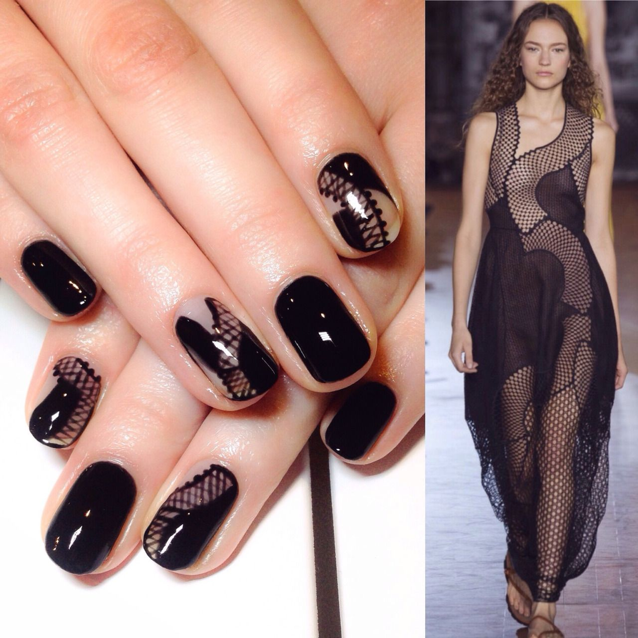 Black dress nails - Black Negative Space Nails By Me Using Bio Sculpture Gel Inspired By Stella Mccartney Ss16