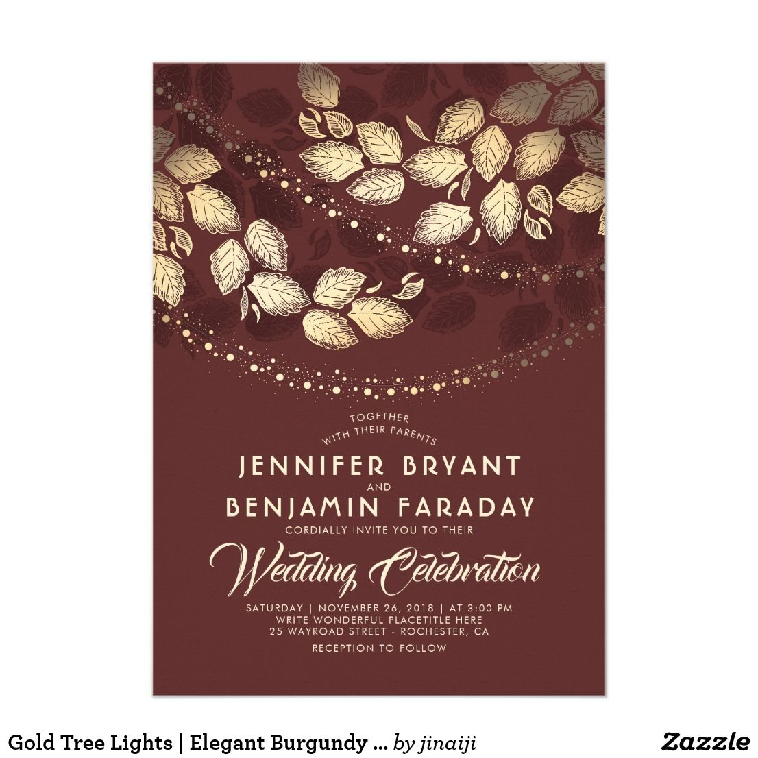 Gold Tree Lights | Elegant Burgundy Wedding Invitation | Wedding ...