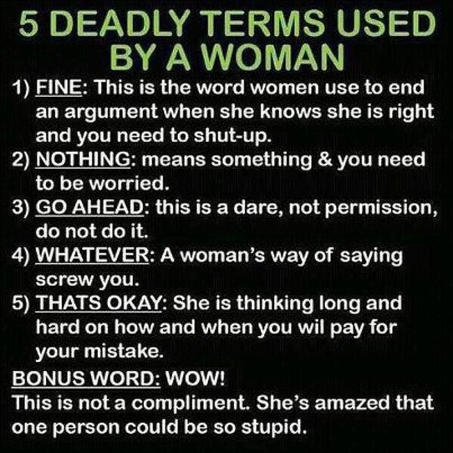 5 deadly terms used by women.