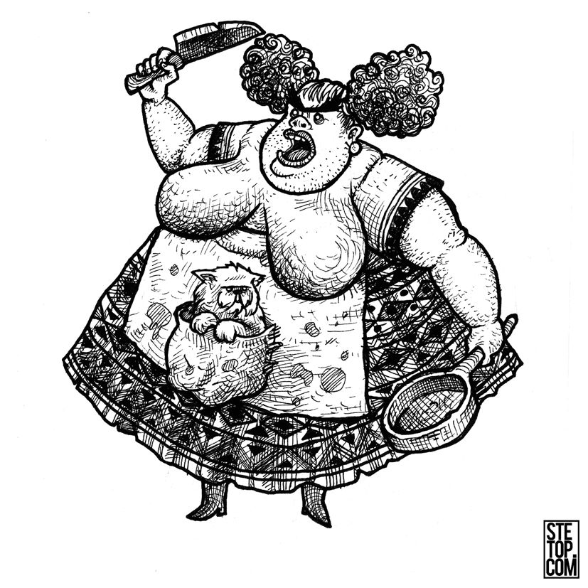 A Big Momma And Her Pet Cat Line Art Character Design