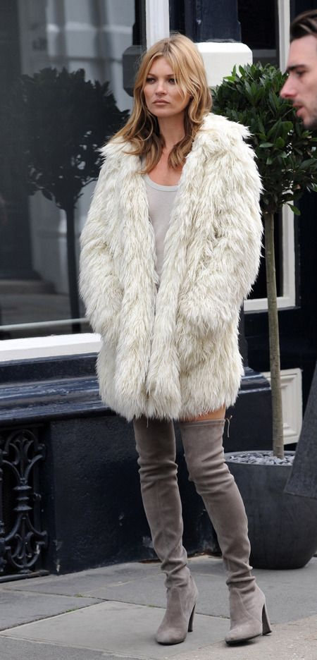 kate moss white faux fur coat and the knee boots