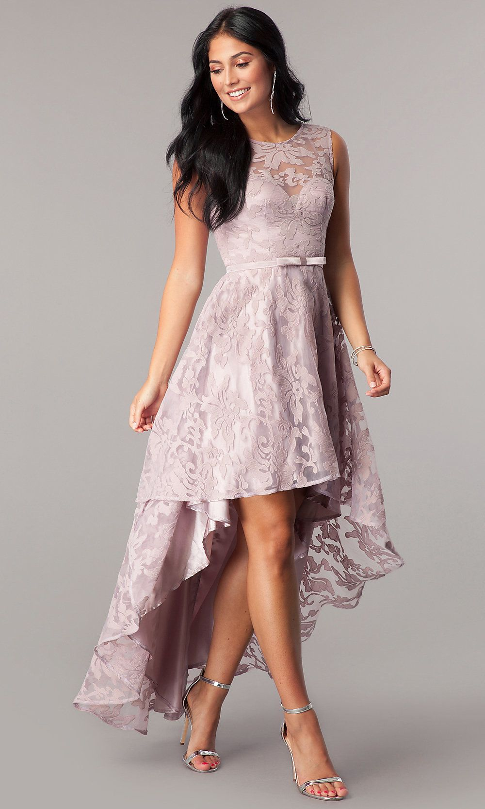 040c2b69a7 Sleeveless High-Low Lace Semi-Formal Dress- PromGirl