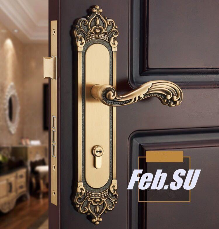 85 45mm Solid Brass Material Door Handle Lock With Copper Cylinder Door Handle Lock Handle Lockdoor Lock With Handle A In 2021 Door Handles Front Door Hardware Doors