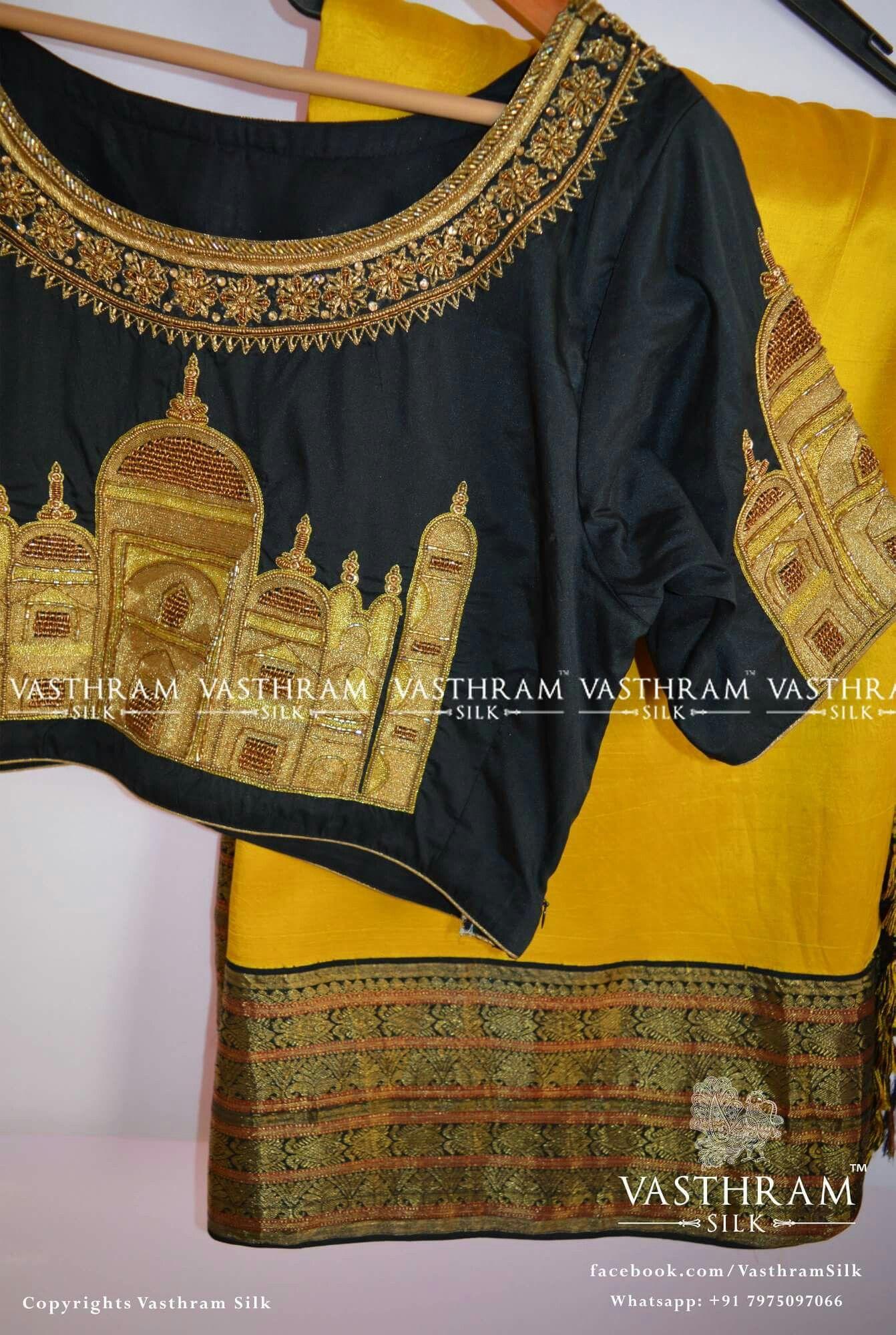 1404d1a658477 Beautiful Taj Mahal work on blouse
