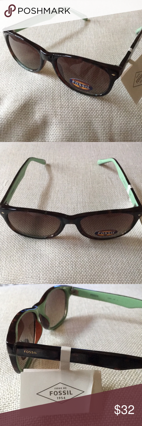 32e82eda8428 NWT Fossil Tortoise Shell   Mint Green Glasses Please see photos for  details Fossil Accessories Sunglasses