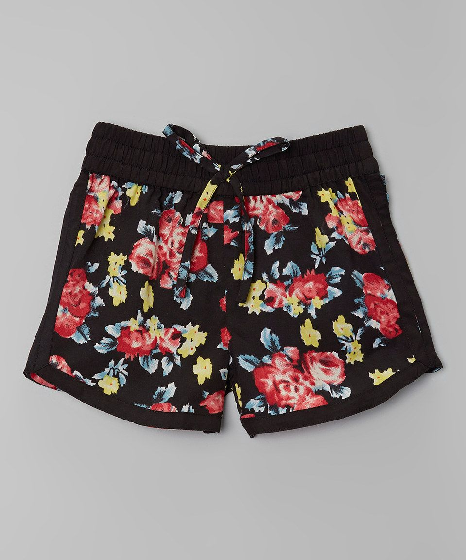 Another great find on #zulily! Real Love Black & Pink Floral Shorts - Girls by Real Love #zulilyfinds