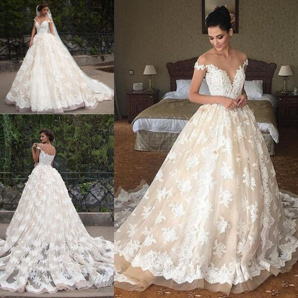 2019 Dubai Arabic Wedding Dresses Lace Appliques Off: Discount 2019 Lace Applique Princess Country Wedding