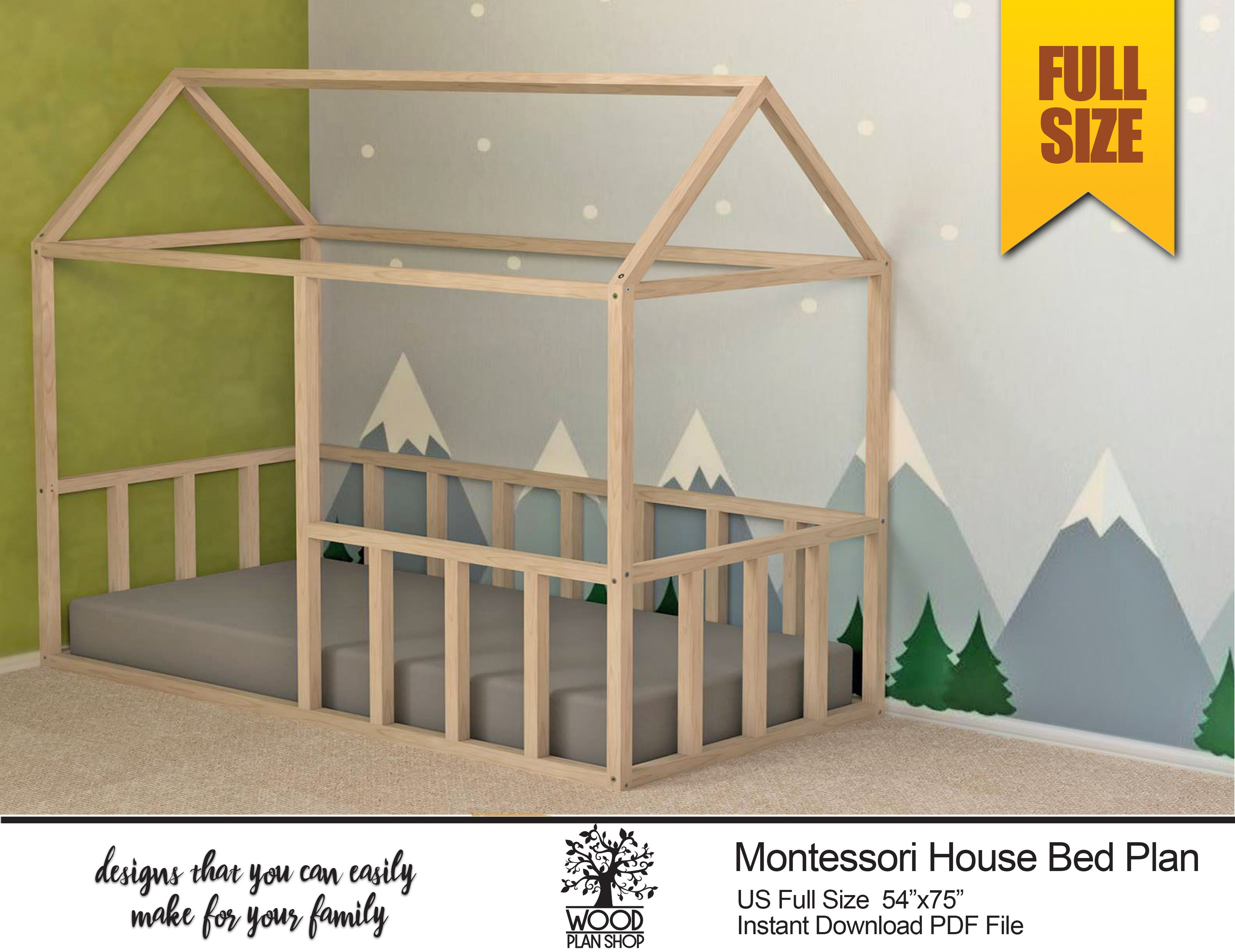 Full Size Montessori Bed Plan House Bed Frame Plan For Kids Bedroom Diy Pdf Plan Toddler Floor Bed House Frame Bed Kids Bedroom Diy Bed Frame Plans