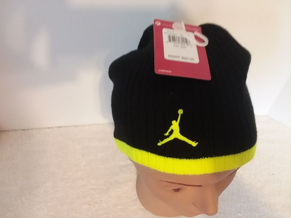565c6484 Jordan Jumpman Hat Boys Knit Beanie Skull Stocking Winter 8-20 Nike Blk  Volt NWT #fashion #clothing #shoes #accessories #kidsclothingshoesaccs ...